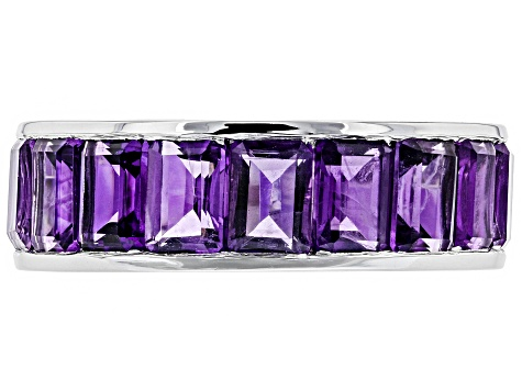 Pre-Owned Purple amethyst rhodium over silver eternity band ring 7.25ctw