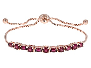Pre-Owned Purple Rhodolite 18k Rose Gold Over Sterling Silver Bolo Bracelet 2.81ctw