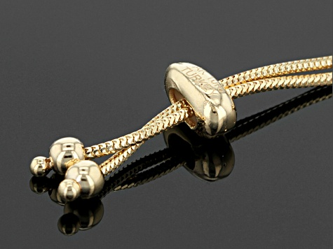 Pre-Owned 10k Yellow Gold Hollow Rosetta And Byzantine Sliding Adjustable Bracelet Set Of Two