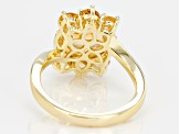 Pre-Owned Yellow golden citrine 18k gold over silver ring 3.31ctw