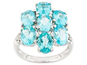Pre-Owned Blue Apatite Sterling Silver Ring 4.94ctw