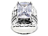 Pre-Owned White Cubic Zirconia Rhodium Over Sterling Silver Center Design Ring 13.92ctw