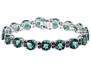Pre-Owned Blue teal fluorite rhodium over silver bracelet 37.22ctw