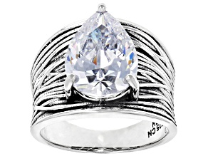 Pre-Owned White Cubic Zirconia Rhodium Over Sterling Silver Ring 8.74CTW