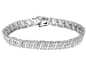Pre-Owned White Diamond Rhodium Over Sterling Silver Bracelet 0.90ctw