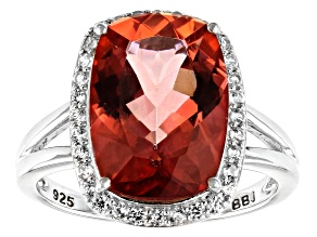 Pre-Owned Red labradorite rhodium over sterling silver ring 5.34ctw