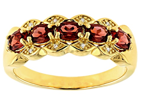 Pre-Owned Red garnet 18k gold over silver ring .84ctw