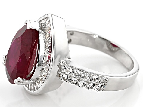 Pre-Owned Red Ruby Rhodium Over Silver Ring 6.25ctw