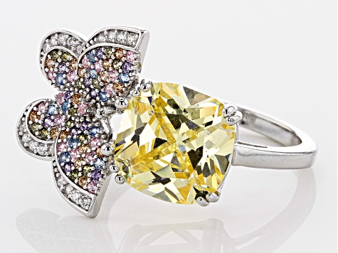 Pre-Owned Lab Created Blue Spinel & Multicolor Cubic Zirconia Rhodium Over Silver Butterfly Ring 6.9