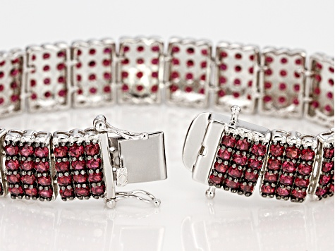 Pre-Owned Raspberry Color Rhodolite Rhodium Over Sterling Silver Bracelet 19.87ctw