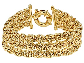 Pre-Owned 18k Yellow Gold Over Bronze 3 Row Rosetta Bracelet