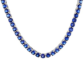 Pre-Owned Synthetic Blue Spinel Rhodium Over Sterling Silver Tennis Necklace 27.72ctw