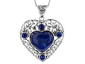 Pre-Owned Blue Lapis Lazuli Sterling Silver Heart Pendant With Chain