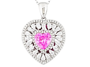 Pre-Owned Pink And White Cubic Zirconia Rhodium Over Sterling Silver Heart Pendant With Chain 5.42ct