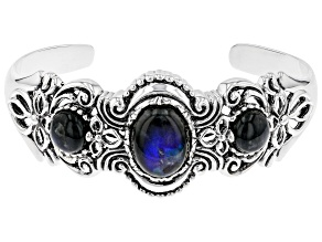 Pre-Owned Gray Labradorite rhodium over silver cuff bracelet