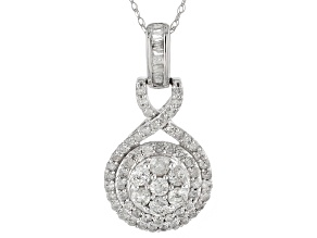 Pre-Owned White Diamond 10k White Gold Pendant 1.00ctw
