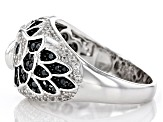 Pre-Owned White Zircon Rhodium Over Silver Owl Ring 1.44ctw