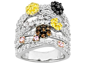 Pre-Owned White, Brown, Pink And Yellow Cubic Zirconia Silver Ring 4.41ctw (2.09ctw DEW)