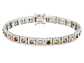 Pre-Owned brown green purple white red cubic zirconia rhodium over sterling bracelet 10.08ctw