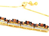 Pre-Owned Caramel and White Zirconia From Swarovski ® 18k Yellow Gold Over Sterling Silver Bracelet