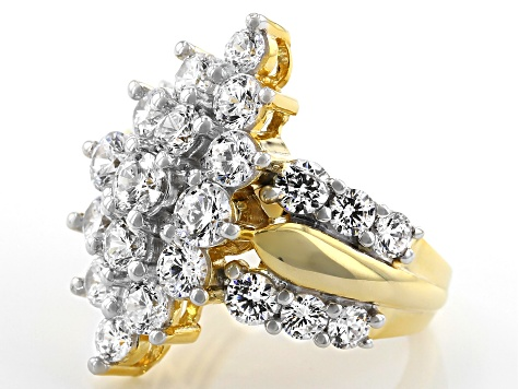 Pre-Owned White Cubic Zirconia 18k Yellow Gold Over Sterling Silver Ring 7.77ctw