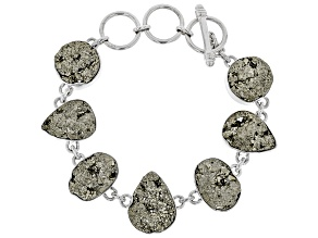 Pre-Owned Green Drusy Pyrite Rough Sterling Silver Bracelet
