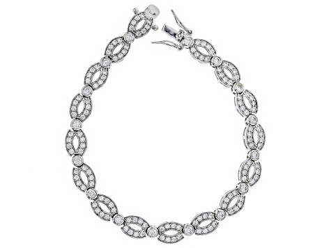 Pre-Owned White Cubic Zirconia Rhodium Over Sterling Silver Cluster Bracelet 6.24ctw