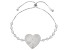 Pre-Owned White Cubic Zirconia Rhodium Over Sterling Silver Adjustable Heart Bracelet 4.64ctw