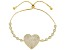 Pre-Owned White Cubic Zirconia 18K Yellow Gold Over Sterling Silver Adjustable Heart Bracelet 4.64ct