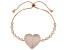 Pre-Owned White Cubic Zirconia 18K Rose Gold Over Sterling Silver Adjustable Heart Bracelet 4.64ctw