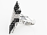 Pre-Owned Black Spinel Sterling Silver Ring 5.27ctw