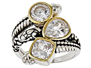 Pre-Owned White Cubic Zirconia Rhodium Over Sterling Silver Ring 5.37ctw