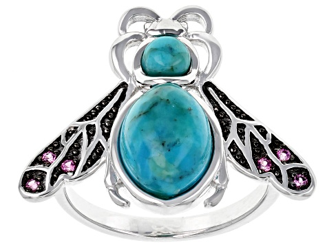 Pre-Owned Blue Turquoise Rhodium Over Sterling Silver Bee Ring .08ctw