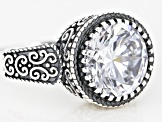 Pre-Owned White Cubic Zirconia Rhodium Over Sterling Sillver Ring 6.50ctw