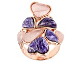 Pre-Owned Purple charoite 18k rose gold over silver dangle ring