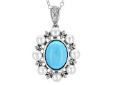 Pre-Owned Blue Turquoise Sterling Silver Pendant With Chain .03ctw
