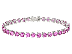 Pre-Owned Pink Lab Created Sapphire Rhodium Over Silver Bracelet 13.60ctw