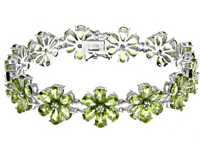 Pre-Owned Green peridot rhodium over silver flower bracelet 30.86ctw