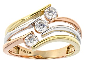 Pre-Owned Moissanite 14k Rose And Yellow Gold Over Platineve Tri Color Ring .48ctw DEW