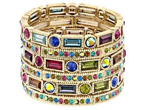 Pre-Owned Multicolor Crystal Gold Tone Stretch Bracelet Set Of 6
