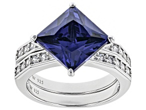Pre-Owned Blue & White Cubic Zirconia Rhodium Over Silver Center Design Ring With Band 8.58ctw