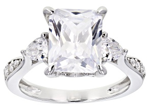 Pre-Owned White Cubic Zirconia Rhodium Over Sterling Silver Engagement Ring 7.37ctw.