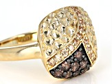 Pre-Owned Brown and Champagne Cubic Zirconia 18k Yellow Gold Over Sterling Silver 0.98ctw