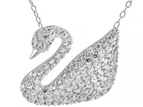 Pre-Owned  White Zircon Rhodium Over Sterling Silver Swan Necklace 1.65ctw