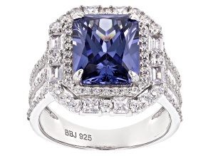 Pre-Owned Blue And White Cubic Zirconia Rhodium Over Sterling Silver Ring 10.22CTW