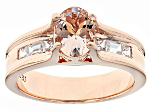 Pre-Owned Pink morganite 18k rose gold over sterling silver ring 1.37ctw
