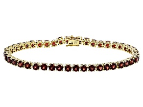 Pre-Owned Red Garnet Sterling Silver Tennis Bracelet 14.52ctw