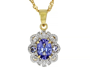 Pre-Owned Blue Tanzanite 18k Gold Over Silver Pendant With Chain 1.14ctw