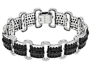 Pre-Owned Black Spinel Rhodium Over Silver Bracelet 19.10ctw