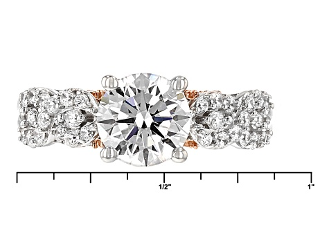 Pre-Owned Cubic Zirconia Silver And 18k Rose Gold Over Silver Ring 4.85ctw (2.77ctw DEW)